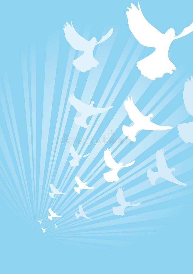 Luz estourada com pombas ilustração do vetor