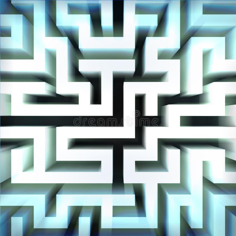 Luz - estrutura azul da parede do labirinto na vista blured parte superior ilustração do vetor