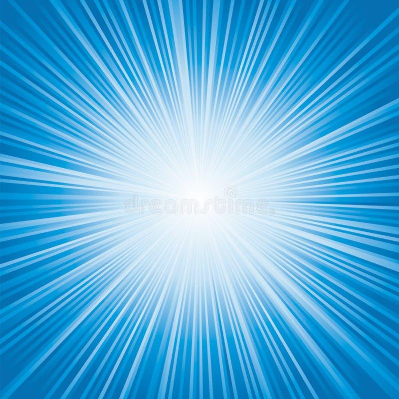 Luz - explosão de cor azul ilustração do vetor