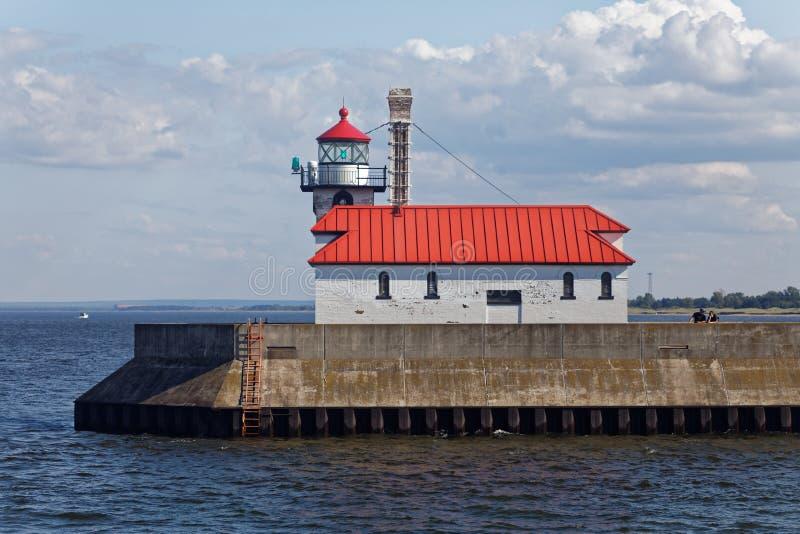 Luz exterior do quebra-mar sul de Duluth imagens de stock royalty free