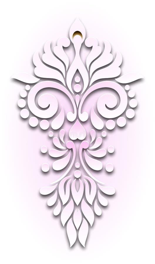Luz floral center do vintage - papel de parede cor-de-rosa ilustração stock