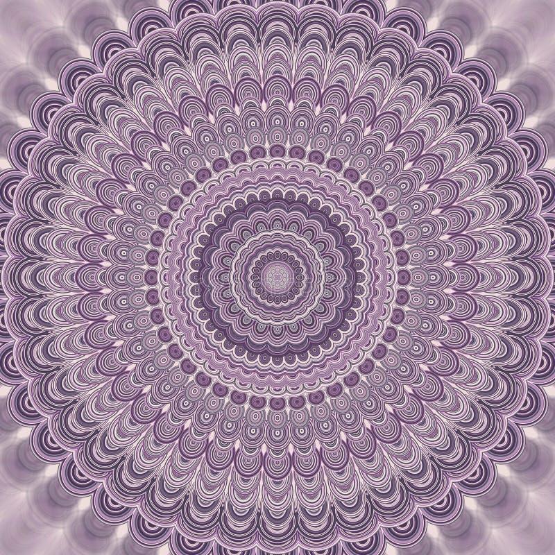 Luz - fundo boêmio roxo do fractal da mandala - projeto simétrico redondo do teste padrão do vetor das formas ovais concêntricas ilustração stock