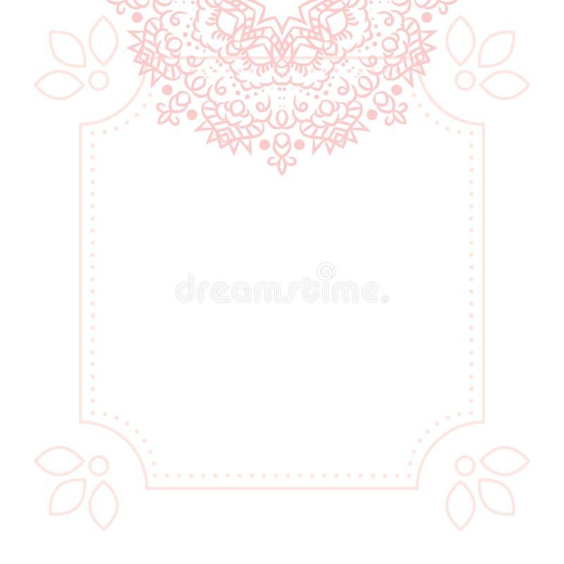 Luz - fundo cor-de-rosa do molde do cartão da mandala ilustração stock