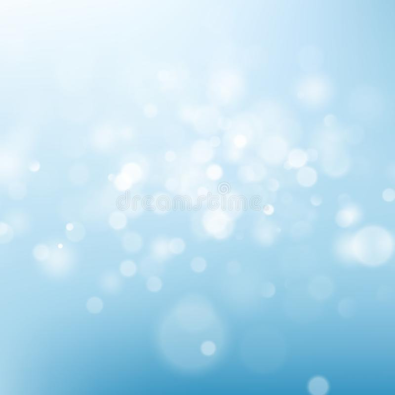 Luz - fundo do sumário do céu azul Molde defocused do efeito da luz do bokeh do borrão da natureza Eps 10 ilustração do vetor