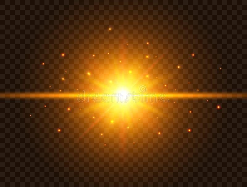 Luz futurista no fundo transparente Explosão da estrela do ouro com feixes e sparkles Flash de Sun com raios e projetor ilustração do vetor