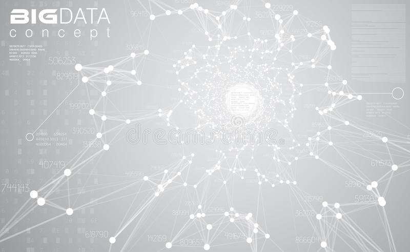 Luz grande dos dados - ilustração cinzenta do vetor do fundo A informação branca flui o visualização center Tecnologia digital fu ilustração stock
