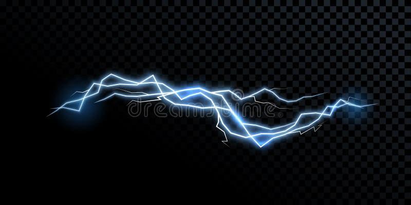 Luz isolada realística do trovão do vetor do raio do relâmpago da eletricidade ilustração royalty free