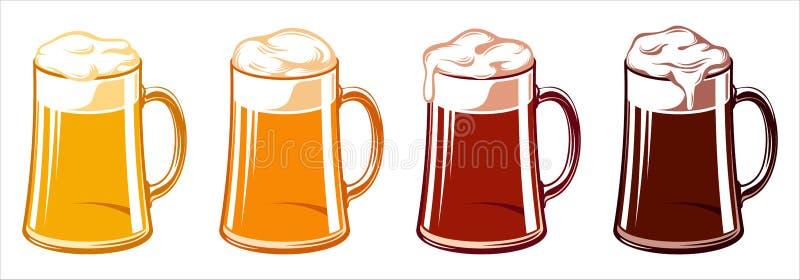 Luz Lager Stout Porter Ale Oktoberfest de la jarra de cerveza de las tazas del vidrio de cerveza stock de ilustración