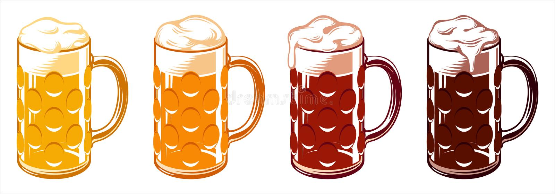 Luz Lager Stout Porter Ale Set de Oktoberfest de las tazas del vidrio de cerveza libre illustration