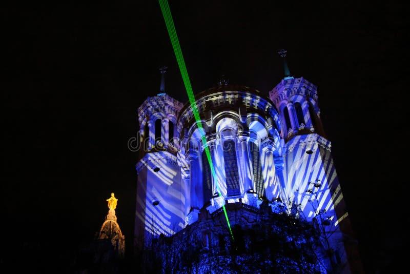 Luz laser sobre Lyon imagen de archivo