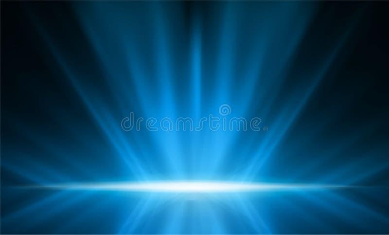 Luz lisa abstrata - fundo azul da perspectiva Vetor Illust ilustração royalty free