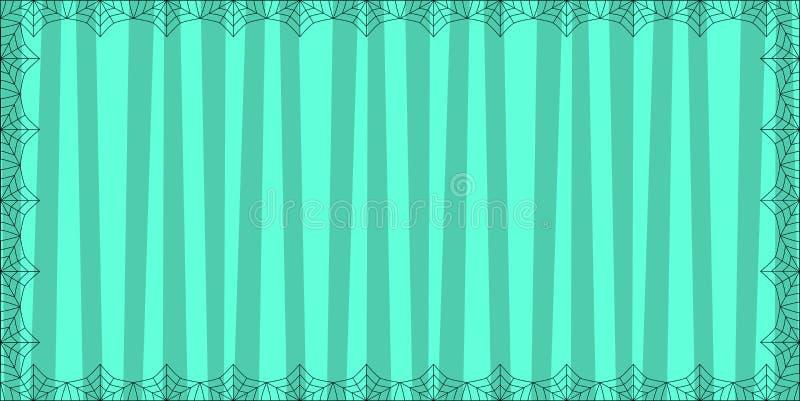 Luz listrada - fundo azul do retângulo com as listras verticais bonitos quadro com teia de aranha da aranha ilustração royalty free