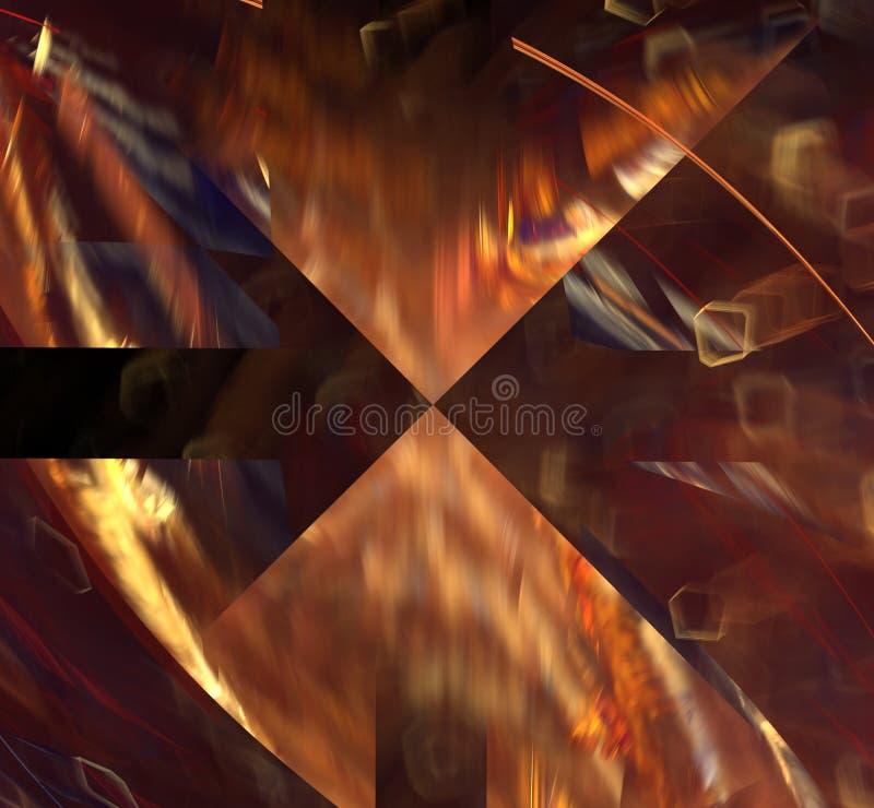 Luz mágica do fractal abstrato - fundo futurista marrom ilustração royalty free