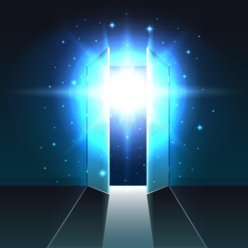 Luz místico da porta dobro aberta de uma sala escura, saída de incandescência abstrata, fundo do estar aberto, molde ilustração do vetor