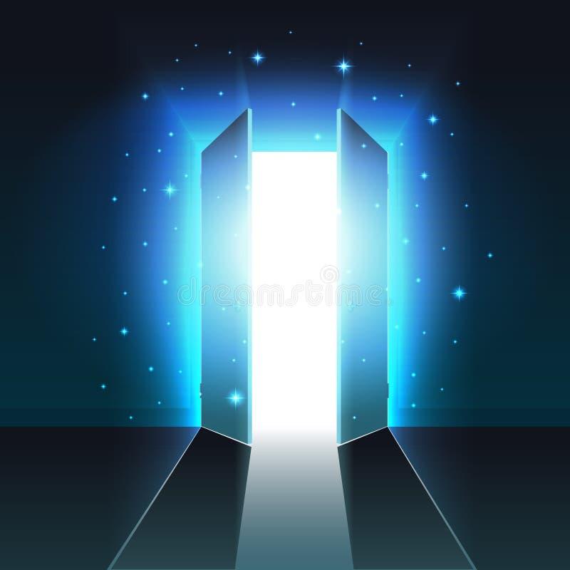 Luz místico da porta dobro aberta de uma sala escura, saída de incandescência abstrata, fundo, zombaria do estar aberto acima ilustração stock