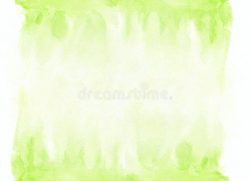 Luz - mancha running do inclinação verde da aquarela Fundo abstrato bonito para desenhistas, modelos, convites imagens de stock royalty free