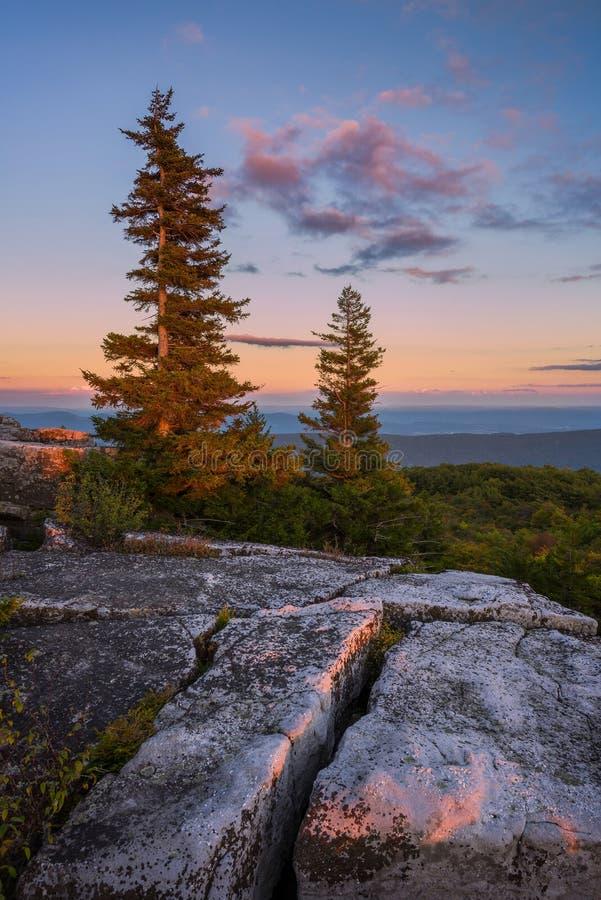 Luz morna da noite, montanhas de Allegeheny, West Virginia imagem de stock