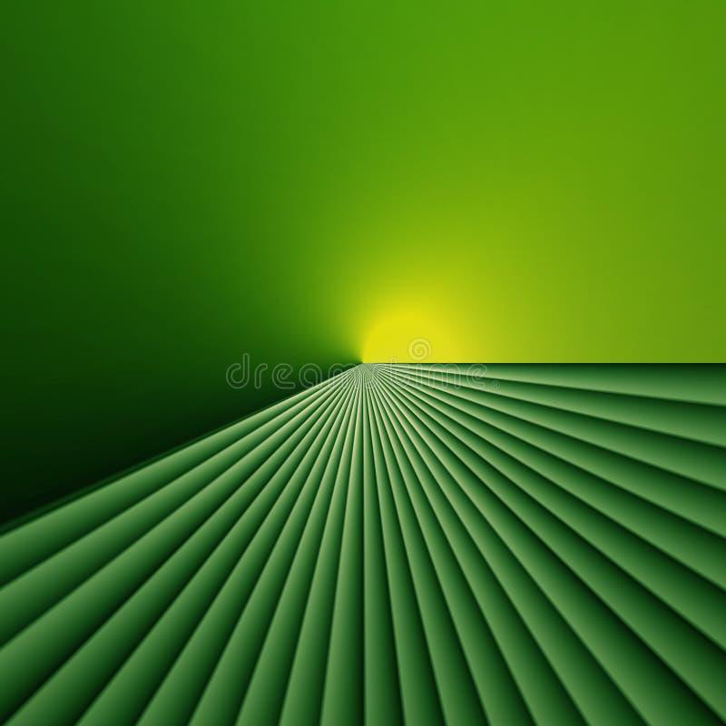 Luz na extremidade de campos verdes ilustração royalty free