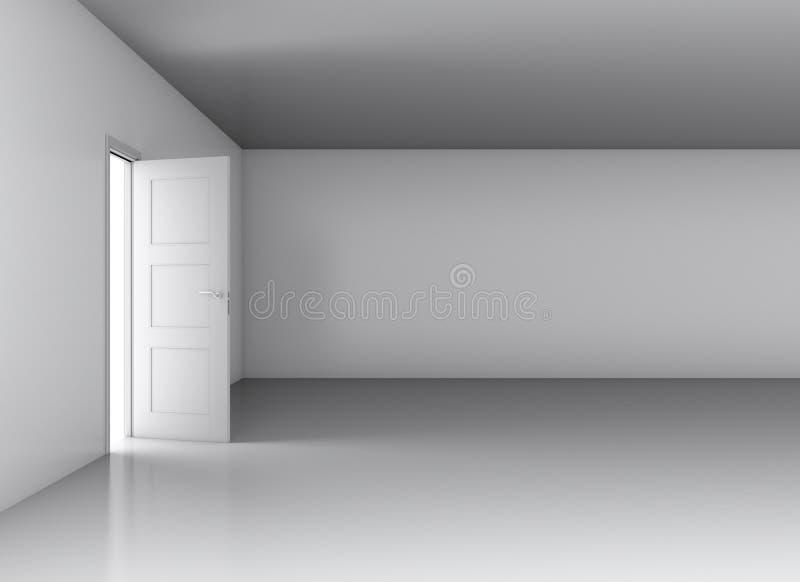 Luz na sala vazia através da porta aberta ilustração royalty free