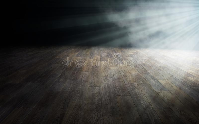 Luz no assoalho de madeira na sala vazia rendição 3d ilustração royalty free