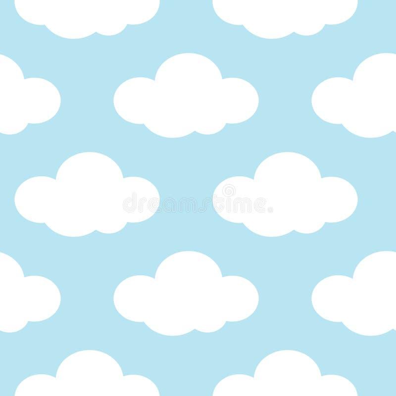 Luz - o céu azul com branco nubla-se o fundo sem emenda ilustração stock