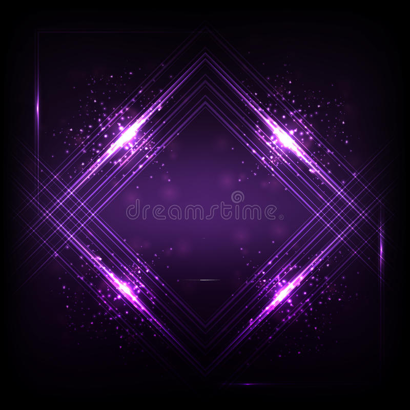 Luz púrpura oscura oscilante de las ondas acústicas, fondo abstracto de la tecnología stock de ilustración
