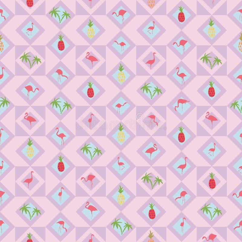 Luz - palmeira roxa do abacaxi do flamingo do fundo ilustração royalty free