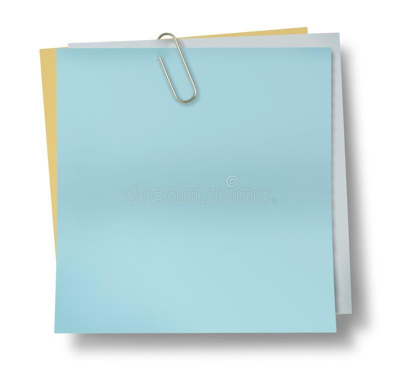 Luz - papel de nota pegajoso azul com o isola do grampo de papel ilustração royalty free
