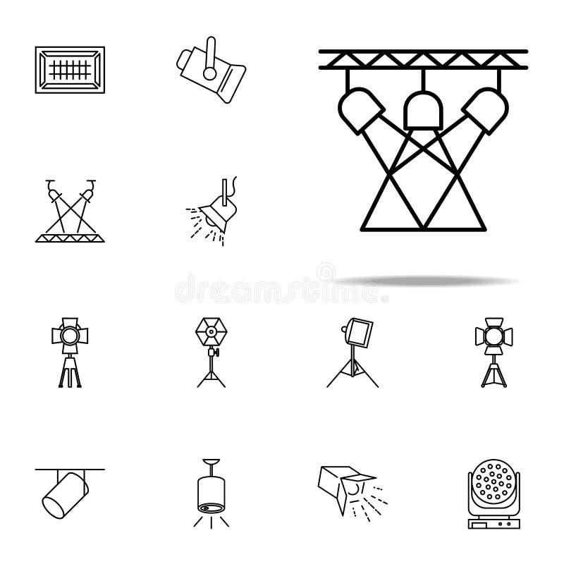luz para el icono de la etapa Sistema universal de los iconos del proyector para la web y el móvil stock de ilustración