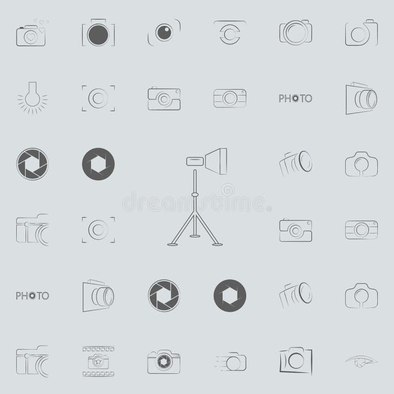 luz para el icono de la fotografía Sistema universal de los iconos de la foto para el web y el móvil ilustración del vector