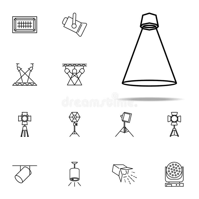 luz para o ícone da iluminação da fase Grupo universal dos ícones do projetor para a Web e o móbil ilustração do vetor