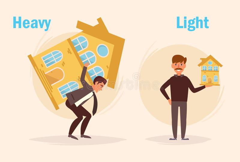 Luz pesada oposto a ilustração royalty free