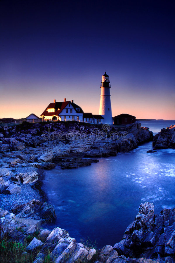Luz principal de Portland, Maine fotografia de stock