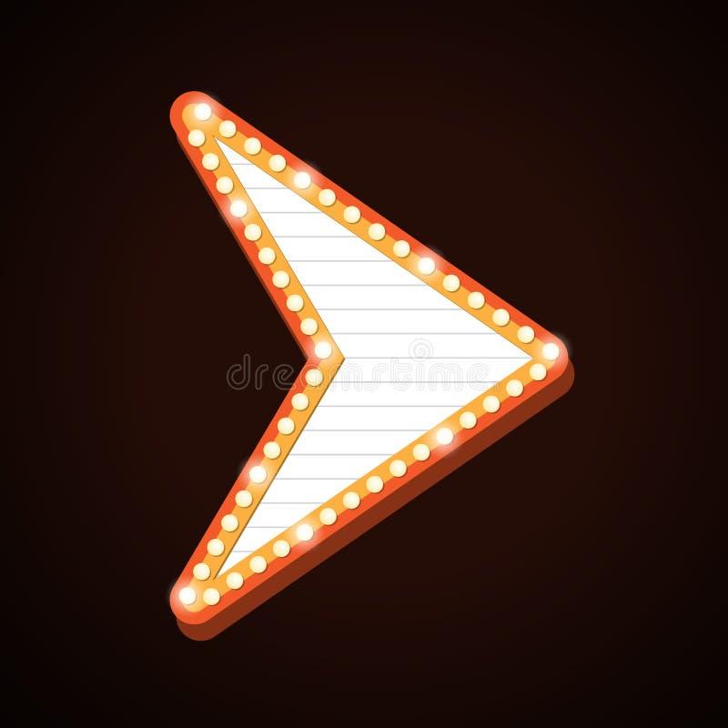 A luz retro do quadro de avisos da seta molda o sinal do teatro ilustração royalty free