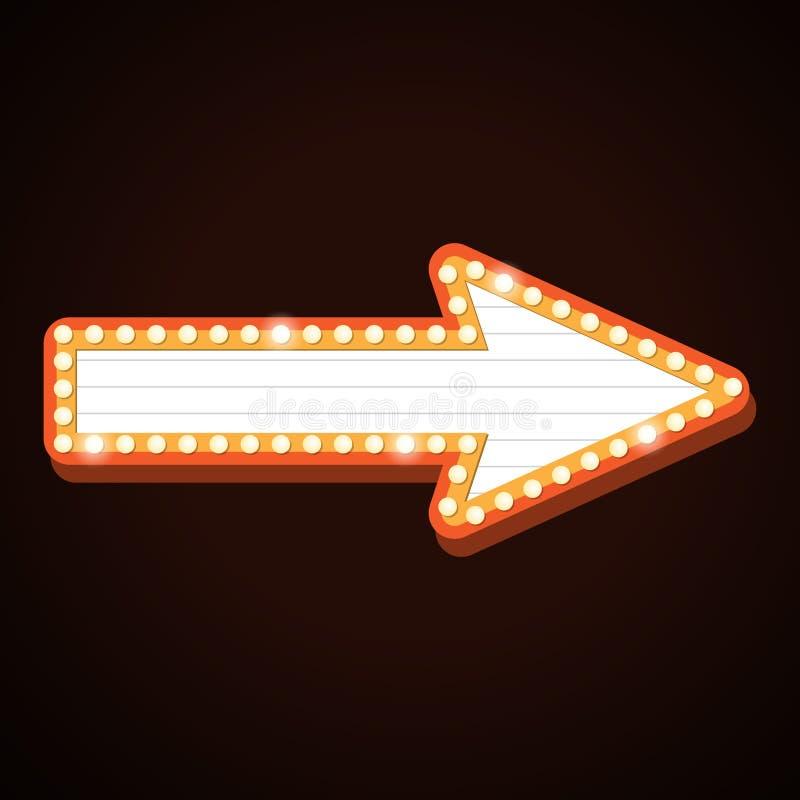 A luz retro do quadro de avisos da seta molda o sinal do teatro ilustração stock