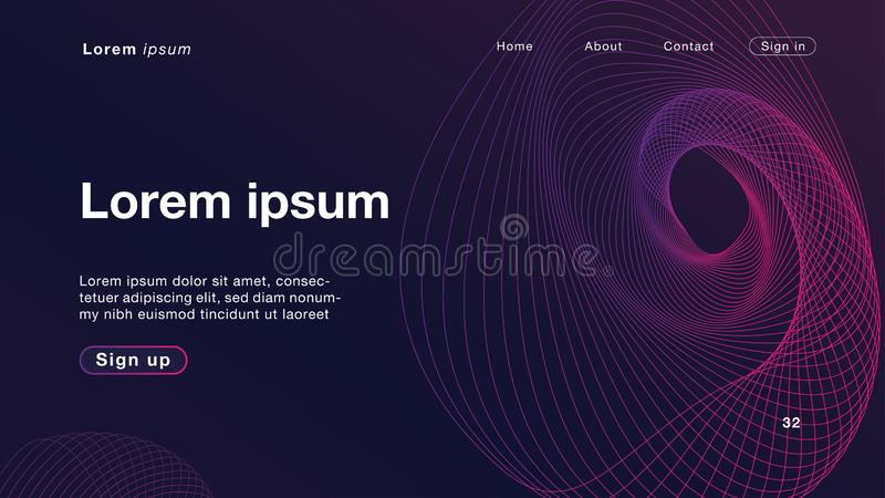Luz roxa das ondas lineares dinâmicas do sumário do fundo para o homepage ilustração stock