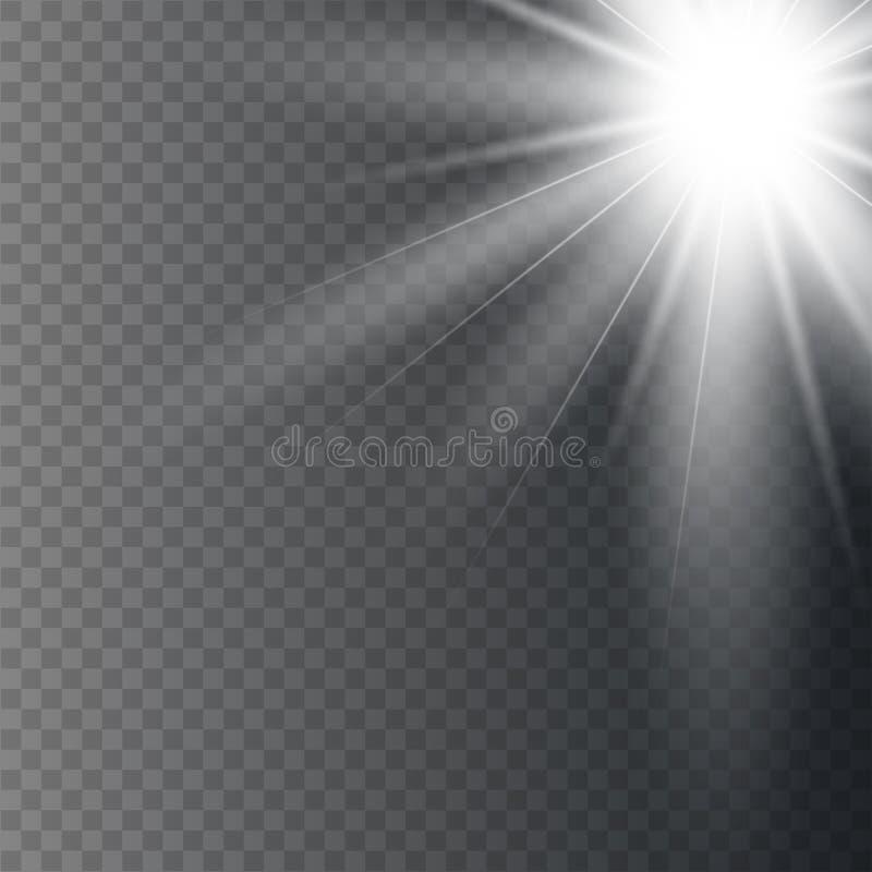Luz solar em um fundo transparente ilustração royalty free