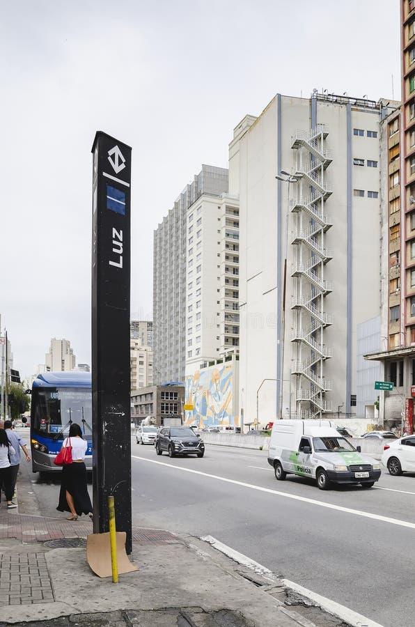 Luz Station na avenida de Tiradentes imagem de stock royalty free