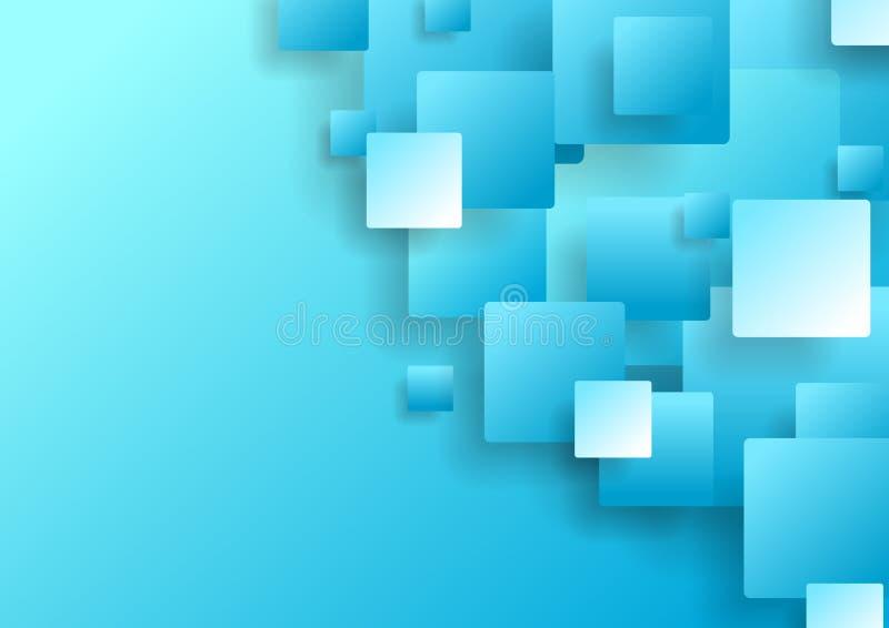 Luz - a tecnologia abstrata azul esquadra o fundo ilustração stock