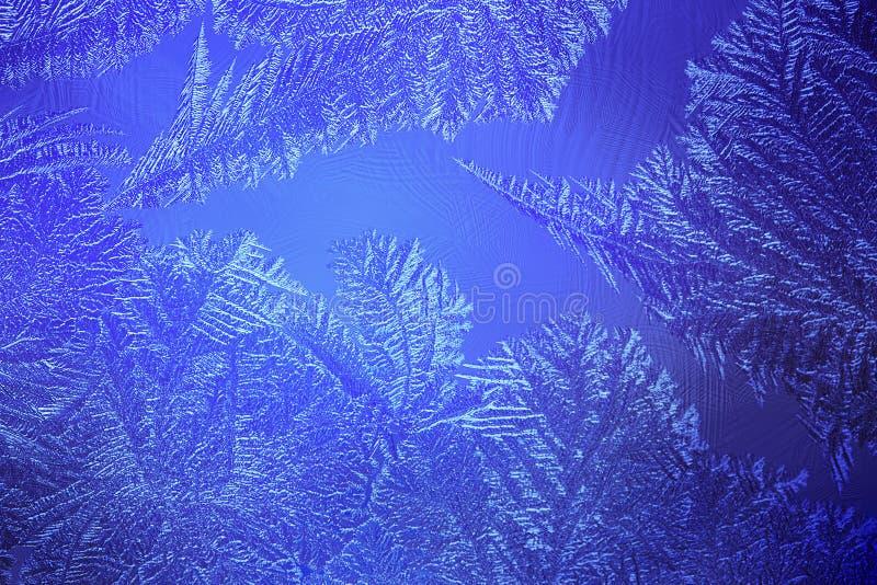 Luz - teste padrão gelado azul em um inverno fotos de stock