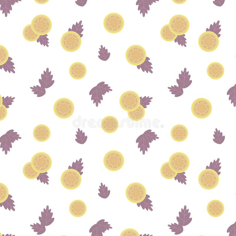 Luz - tomate amarelo e folhas roxas do teste padrão sem emenda do vetor da composição da manjericão isolado no produto branco dos ilustração do vetor