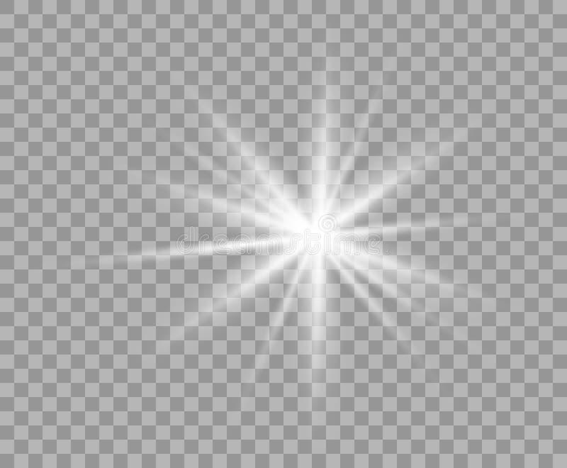 Luz transparente luminosa branca Estrela do Natal do vetor, um flash brilhante da luz Fundo transparente isolado brilho ilustração royalty free