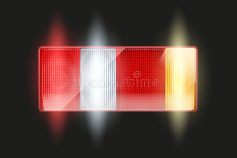 Luz trasera rectangular del coche stock de ilustración