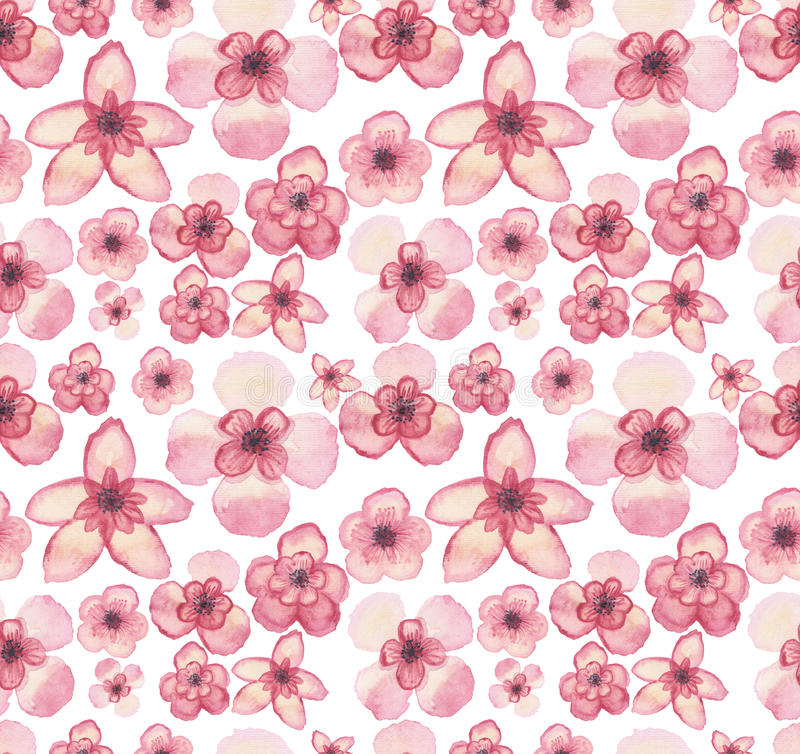 Luz tropical da aquarela as flores cor-de-rosa repetem o teste padrão ilustração stock