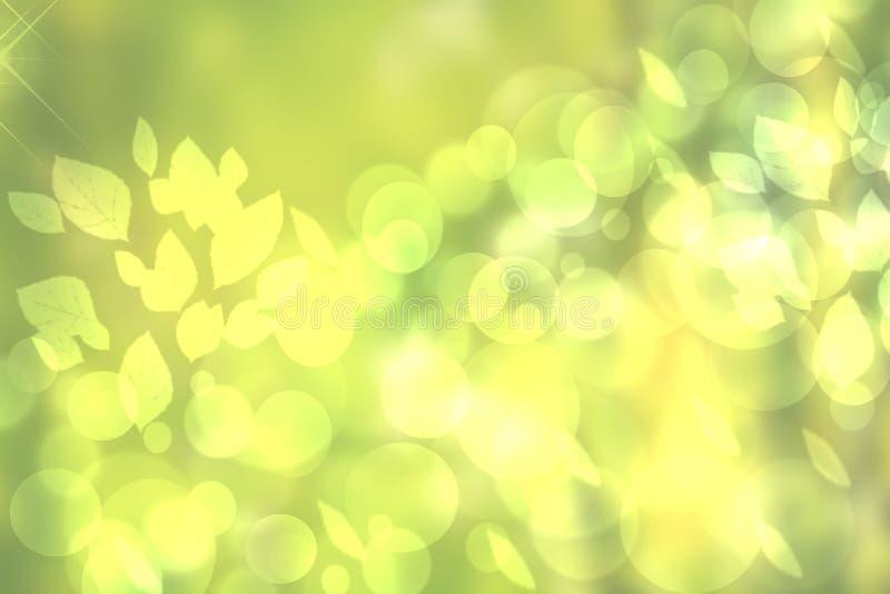 Luz verde de la pendiente del extracto y primavera o fondo colorida amarilla del bokeh del verano Textura hermosa ilustración del vector