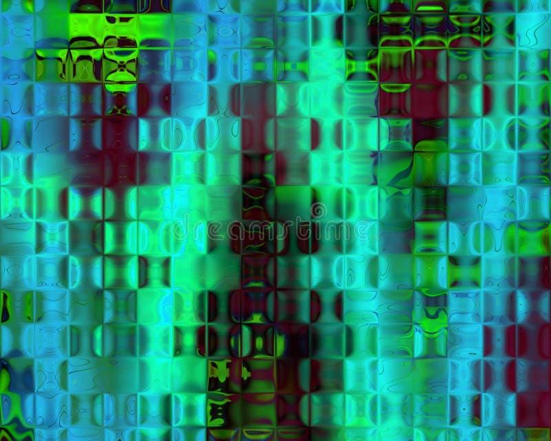 Luz verde genética de blocos de cristal da arte - vermelho azul ilustração do vetor