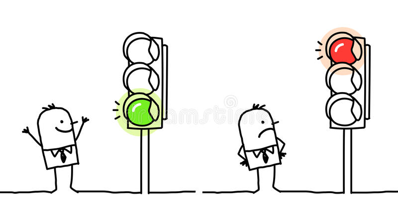 luz verde ou vermelha ilustração royalty free