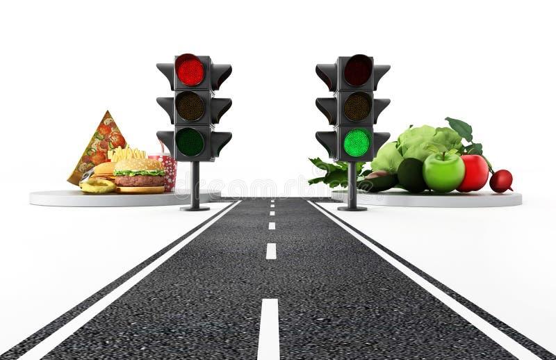 Luz verde para o alimento saudável e luz vermelha para a comida lixo ilustração 3D ilustração stock