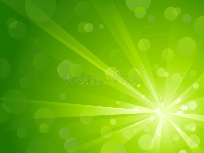 Luz verde repartida con los puntos ligeros brillantes stock de ilustración