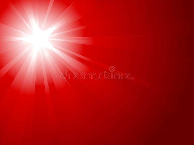 Luz vermelha estourada com estrela branca ilustração royalty free